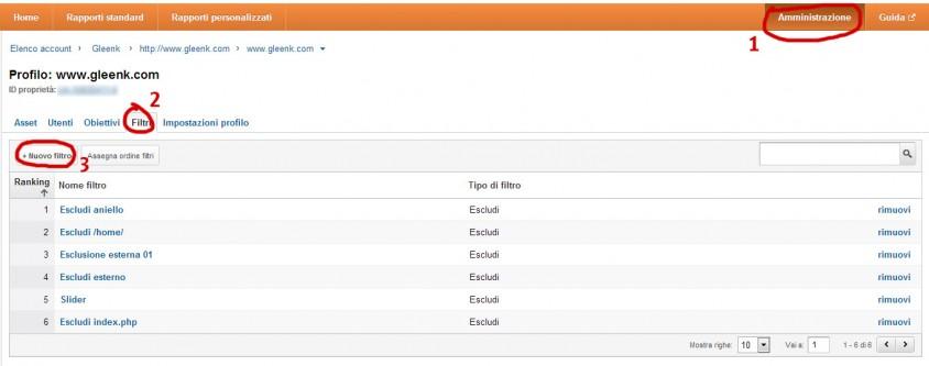 Escludere pagina analytics con filtri