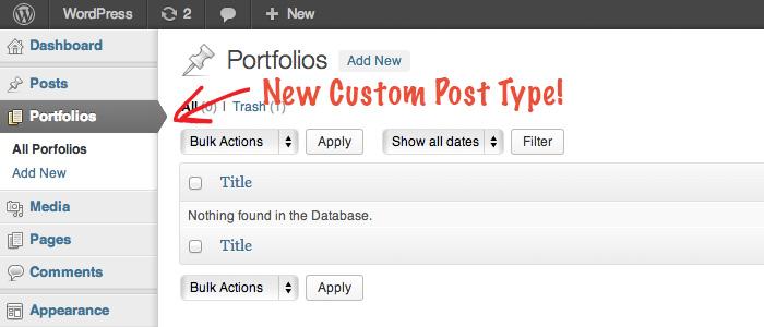 WordPress Nuovo Post type